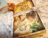 """A Jane Austen Junk Journal 5"""" X 8 3/4"""" Coffee Stain 44 Cardstock Pages Hand Sewed Hand Stamped  Sewed Journal Cards Pockets And Inserts"""
