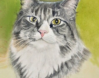 Tabby Cat Portrait Print, Tabby Cat Print, Tabby Cat Art, Cat Art, Cat Art Print, Cat Watercolor & Colored Pencil Painting by P. Tarlow