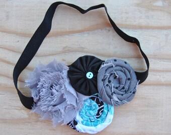 Girls fabric flower headband, Rosette flower headband, Gray, black, aqua fabric elastic headband, Baby elastic headband, Shabby flower