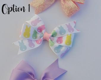 Easter Hair bows, Girls Easter Hair bows, You CHOOSE colors, Glitter hair bows, Toddler Easter Hair bows, Pastel Chevron Stripe Hair bows