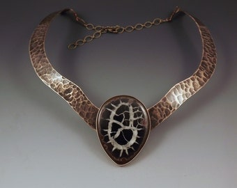 Septarian Nodule- Fossil- Bronze Metal Art- One of a Kind Collar Necklace