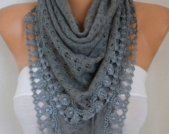 ON SALE --- Gray Knitted Scarf Cowl Lace Bridesmaid Gift Bridal Scarf, Wedding Scarf,Gift Ideas For Her Women Fashion Accessories best selli
