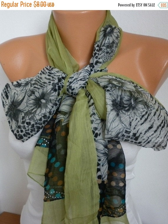 ON SALE --- 50% OFF - Grass Green Floral Chiffon Scarf,Fall Scarf,Wedding Scarf, Easter Shawl Scarf,Gift Ideas For Her Women Fashion Accesso