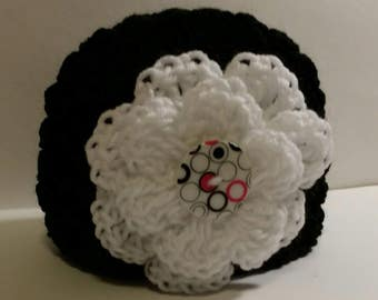Black Beanie Hat with flower button, crochet, colorful, white, large flower, black, green, warm, weather, cold, snow, messy bun hat