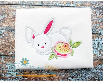 Flower Bunny Applique