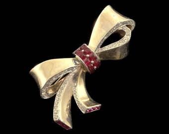 Vintage 1940s Marcel Boucher MB Phrygian Cap Sterling Silver Vermeil & Invisible Set Ruby Rhinestone Brooch