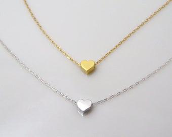 Tiny heart necklace, tiny gold heart, tiny silver heart, tiny rose gold heart, small heart necklace, layering necklace