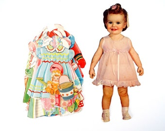 "Vintage Paper Doll Toddler ""Nancy"" with Clothing, 25 pieces (c.1940s) - Doll Ephemera, Collectible Doll, Paper Projects"