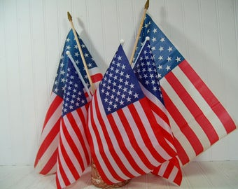 American Flags Collection of 5 Well Used Vintage Displayed Naturally Aged USA Flags on Poles Variety of Condition & 2 Sizes for Upcycling