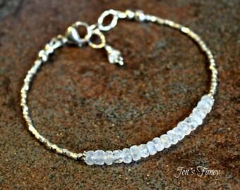 Rainbow Moonstone Pure Silver Bracelet, Karen Hill Tribe, Moonstone Jewlery, A Grade, June Birthstone, Womens Gift, Handcrafted, Shiana