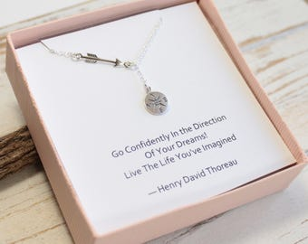 Sterling Silver Arrow and Compass Lariat Necklace... Thoreau Quote Graduation Sentiment Card