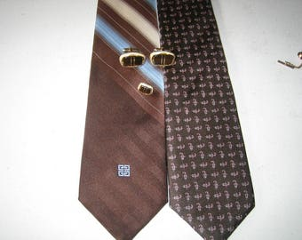Shields MOP Tie Tack and Cufflinks 2 Free Givenchy Silk Ties