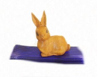 Vintage Wooden Rabbit Figurine, Wood Trinket Box, Rabbit Decor, Home Decor, Home Accent, Wooden Figurine, Hand Carved Wood, Easter Decor