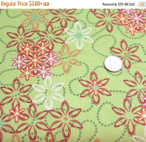 Lime green flower fabric,Quilt fabric,Apparel fabric,100 % Cotton,Free Spirit,Fabric by the yard,Fabric by the half yard,Fat quarter fabric