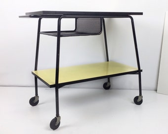 Mid Century bar cart, formica mobile bar cart, vintage serving cart, rolling industrial cart