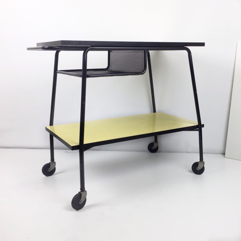 Mid century bar cart formica mobile bar cart vintage serving - Mid century mobel ...