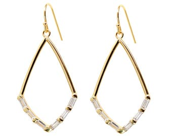 Baguette Hoop Earrings - White topaz - Emerald Cut Stones - Gold Hoop Earrings