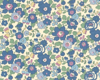 "Liberty Tana Lawn BETSY - 17"" wide x 13"" (43cm x 33cm) - Limited Edition - blue, lavender, cream"