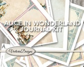 Alice in Wonderland Journal Kit Printable Junk Journal Vintage printable paper crafting instant download digital collage sheet - VDKIAL1443