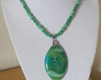 Goddess in Green/genuine green agate pendant with white straiations with agate and turquoise neck chain/womens agate and turquoise necklace