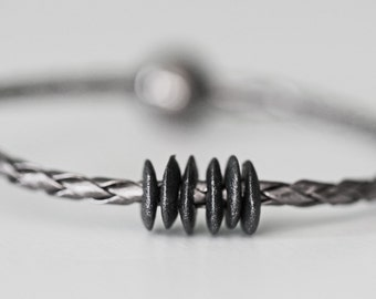 Gunmetal Braided Leather & Ceramic Beaded Mens Unisex Bracelet