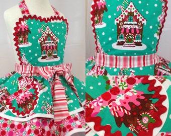 Girls Apron /Gingerbread Christmas Apron, Sweet Treats/Holiday Apron, Kid's Apron