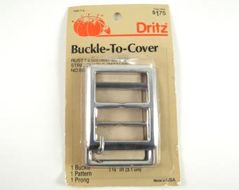"""Vintage Buckle Kit to Cover With Your Own Fabric Pattern Dritz 1980s DIY Sewing Supply 1-1/4"""""""