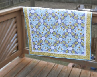 Blue Butterflies and Flowers Baby Quilt - Tennessee Waltz Baby Girl Quilt - Blue, Green, Yellow, Purple, and White Handmade Quilt