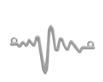 5 Silver Tone HEARTBEAT Charms, Silver Science Charm Pendants, EKG Charms, Electrocardiogram Charms, Connector Links, 48x29mm, chs2680