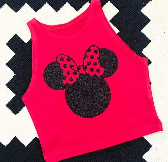 New Minnie  Silhouette Crop/Tank/Tee/Sports Bra - Your Choie - Disney wdw mouse cheer dance girl woman child crop top