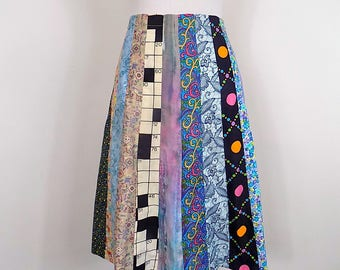 Vintage Novelty Crossword Puzzle Patchwork Skirt -  70s A Line Skirt - Size XS - Small