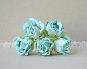18  mm   / 5   Blue  Paper  Rosebuds