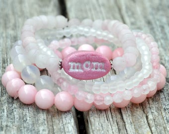 "Pink & White Beaded ""mom"" Stack"