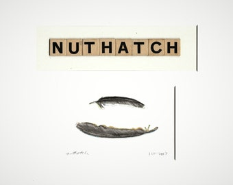 Nuthatch, OOAK original watercolor painting, collage with vintage game pieces, neutral colors, black, brown, realism, art with words,