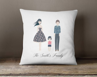 Square Pillow Family Portrait Printed Mum Dad and Little Girl with family name