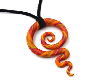 Meaningful Necklace KORU Swirl Spiral Yellow Orange Red Sunset Multicolor Colorful Gift Lucky Charm Big Pendant Leather Friendship Fimo Clay