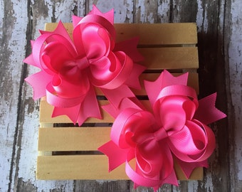 Pink pigtail hair bows , Set of two bubblegum pink hair bows , hair bows, solid pigtail hair bows , hair bows for girls , school hair bows