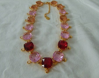 vintage hutton wilkinson crystal necklace pink red topaz gold tone