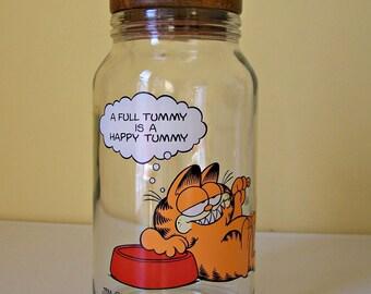 Vintage Garfield Glass Jar  A Full Tummy is a Happy Tummy