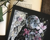 Waning Garden ~ Matte Photo Print of Original Painting ~ Skull with Bouquet of Flowers and Moons ~ Romantic Witch Gypsy Gothic Bohemian Ar