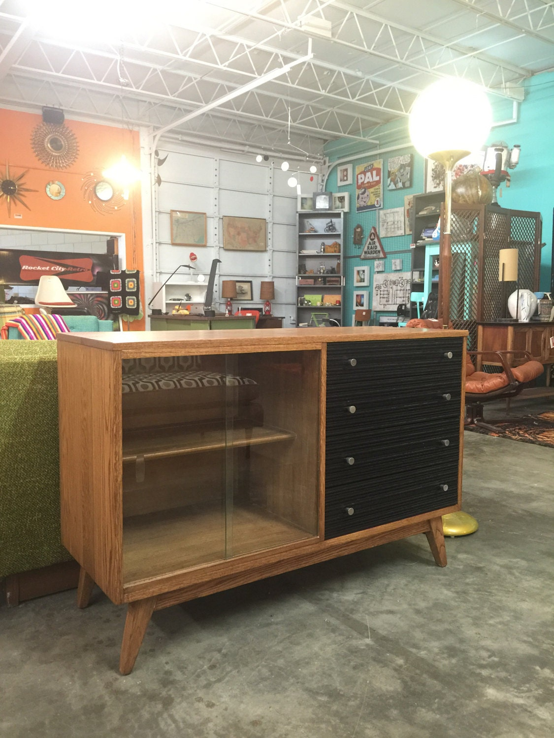 Mid Century Modern Glass Front Cabinet With Four Drawers