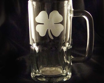 Shamrock Etched Beer Mugs - Irish Beer Mugs - Set of 4 - Custom Beer Mugs - Man Cave Gift - Shamrock Glasses - Custom Barware