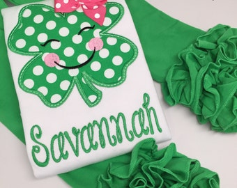 St. Patrick's Day Shirt or bodysuit for girls--- Irish Eyes are Smiling -- pretty emerald polka dot and pink shamrock with name