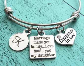 daughter in law gift bracelet, marriage made you family, daughter in law wedding gift, bride gift from mother of groom from mother in law