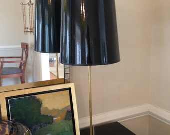 Unfinished Brass Lamp with Black High Gloss Lamp Shade with Gold Lining