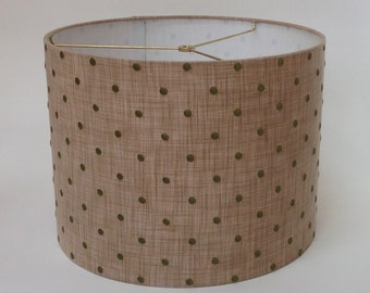 """Drum Lampshade in Taupe linen with Olive Green Embroidered Dots 16"""" D X 12"""" T Ready to Ship!"""