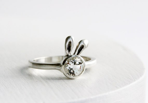 White Bunny Ring, White Topaz Sterling Silver Ring,Bunny Fine Jewelry,MADE TO ORDER