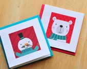 Mini Christmas Cards // Set of 10 // Blank Cards // Gift Tags // Holiday Cards // Christmas Characters