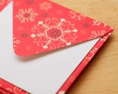 Red Snowflake Mini Cards // Set of 6 // Enclosure Card // Gift Card // Keepsake Envelope // Scrapbooking // Gift Wrapping