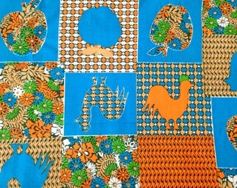 Vintage Marcus Bros Textiles Cotton Fabric with Rooster and Apple Patchwork Print 1960s 60s 1970s 70s retro